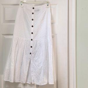 White Button up eyelet skirt